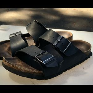 Birkenstock Black Leather Buckle Sandals Size L6